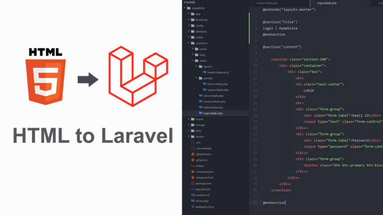 convert html template to laravel project