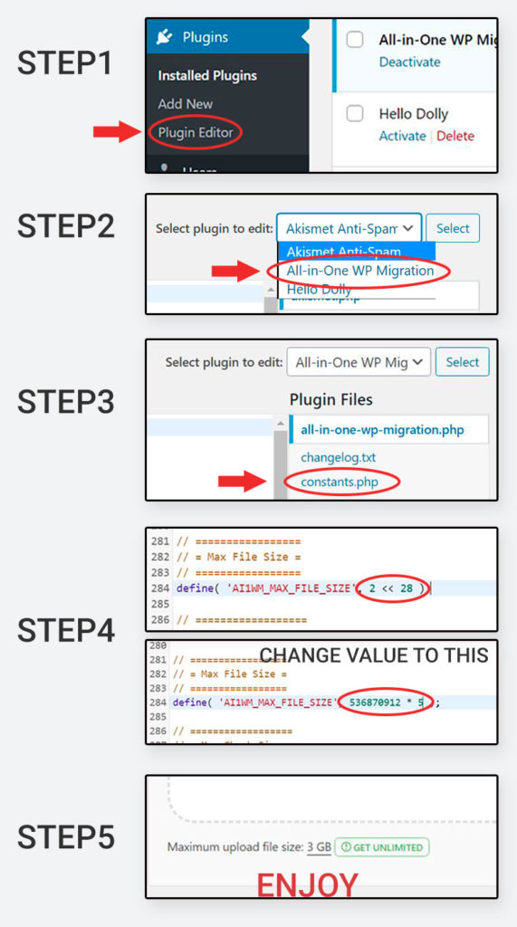 Change upload limit of all-in-one wp migration in just 5 steps