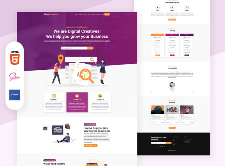 Digital agency landing page design Bootstrap