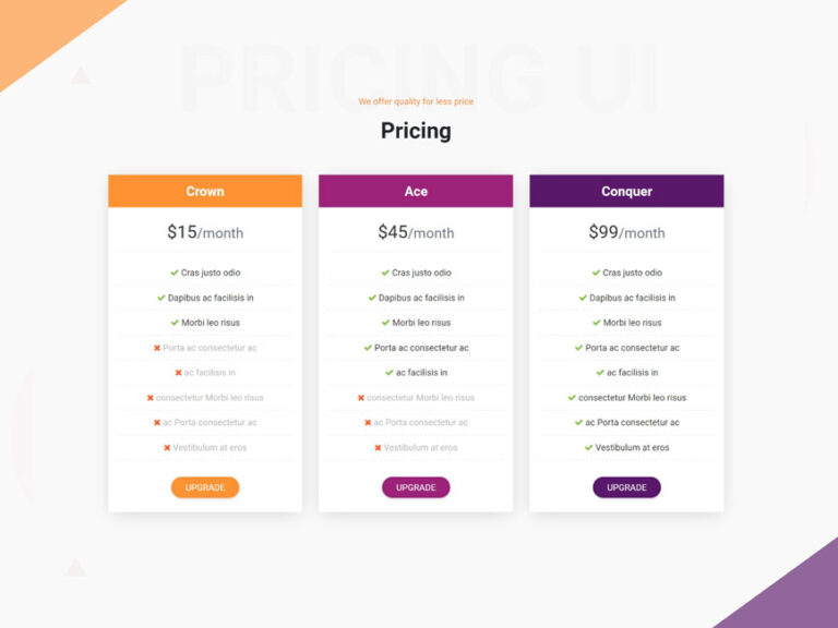 Pricing UI design bootstrap