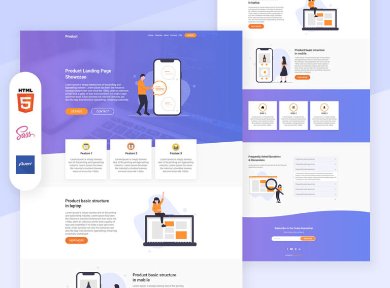 Product landing page design Bootstrap