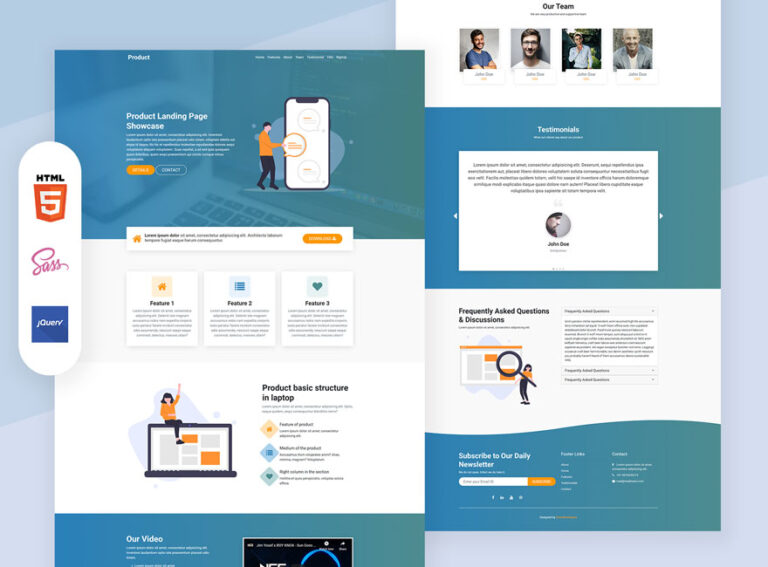 Product 2 one page bootstrap design