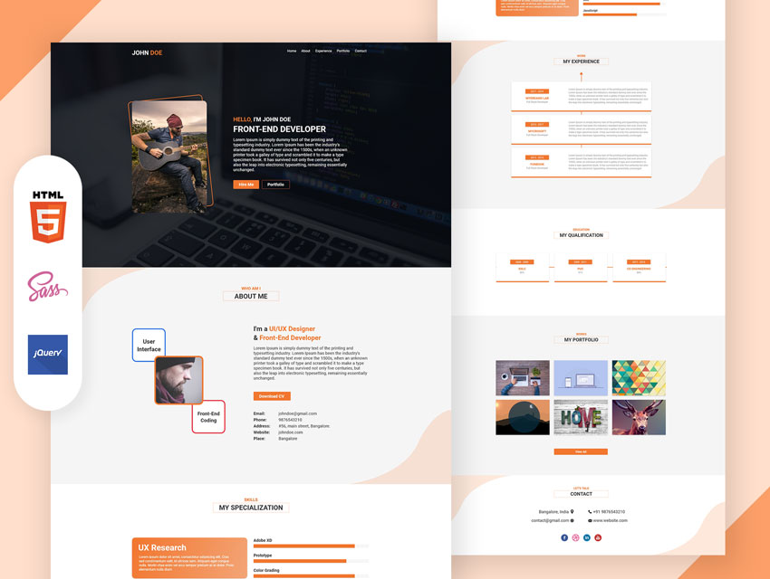 Resume one page design bootstrap