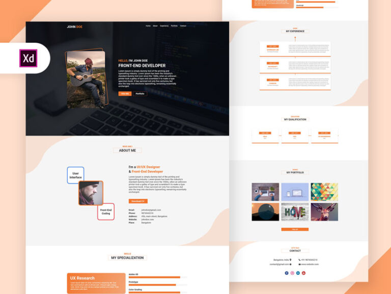 Resume one page design adobe xd