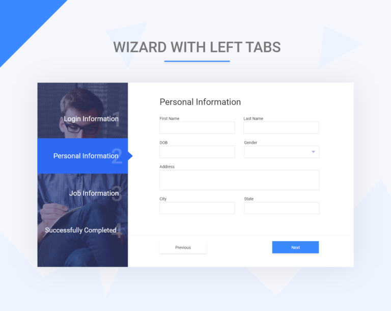 Bootstrap wizard with left menu tabs