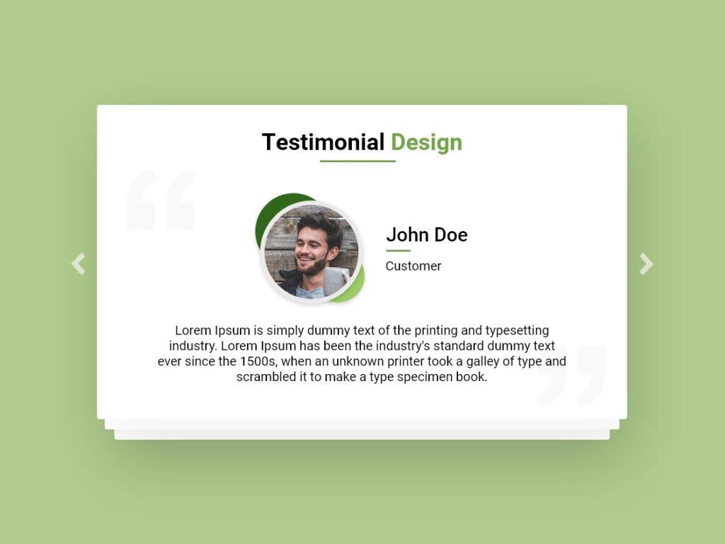 Testimonial Design Green Theme AdobeXD Bootstrap