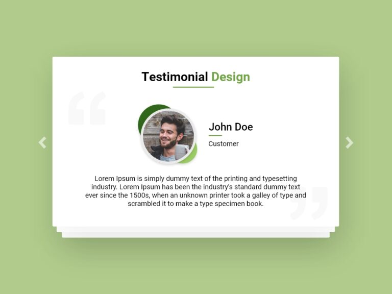 Testimonial Design Green Theme AdobeXD Bootstrap