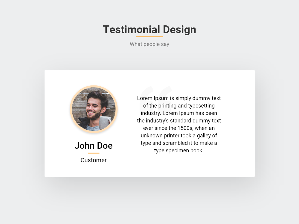 Testimonial Design Orange Theme Bootstrap
