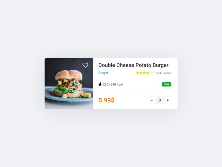 Food order card Ui design Bootstrap AdobeXD
