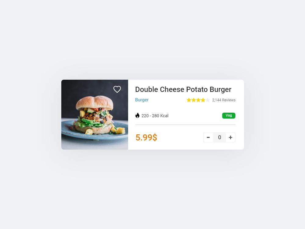 Food order card Ui design Bootstrap AdobeXD