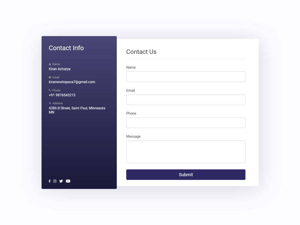 Contact Form UI Design Bootstrap AdobeXD Fontawesome
