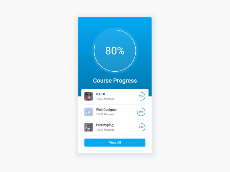 Course Progress Card UI Design HTML CSS Bootstrap