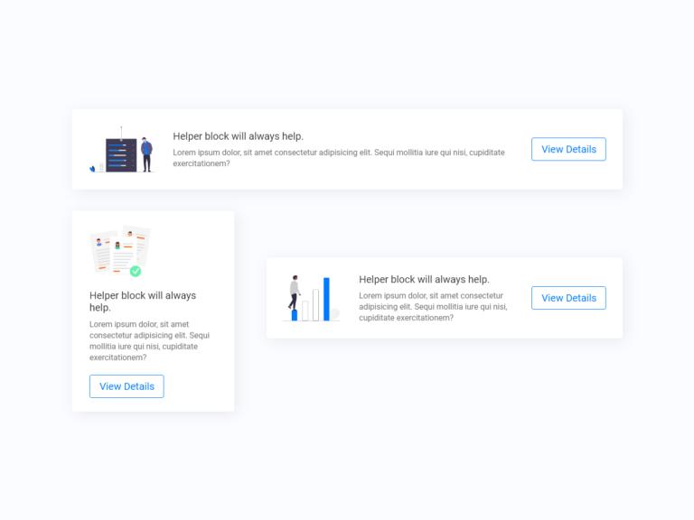 Info card helper ui design adobe xd and bootstrap