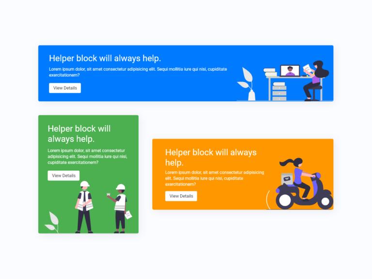 Info Card Helper colored UI design adobexd bootstrap
