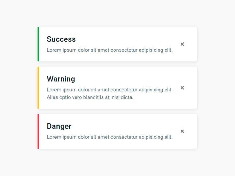 Info card Notification alert card UI Design Bootstrap