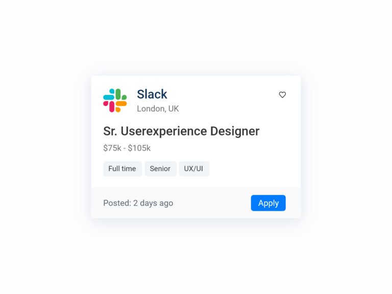 Job Card UI Design job application adobexd bootstrap fontawesome