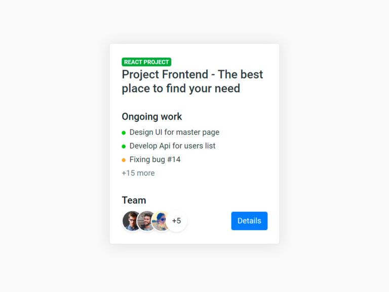 Project Card UI Design Bootstrap 4