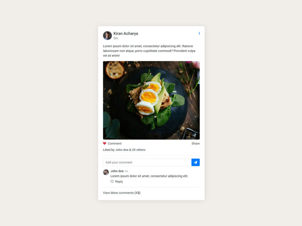 Social Media Post UI Design Bootstrap html css