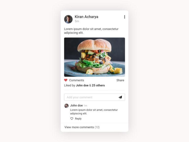 Social Media Post UI Design AdobeXD