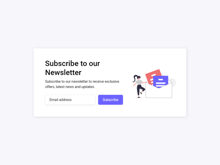 Subscribe Newsletter Form UI Design AdobeXD Bootstrap