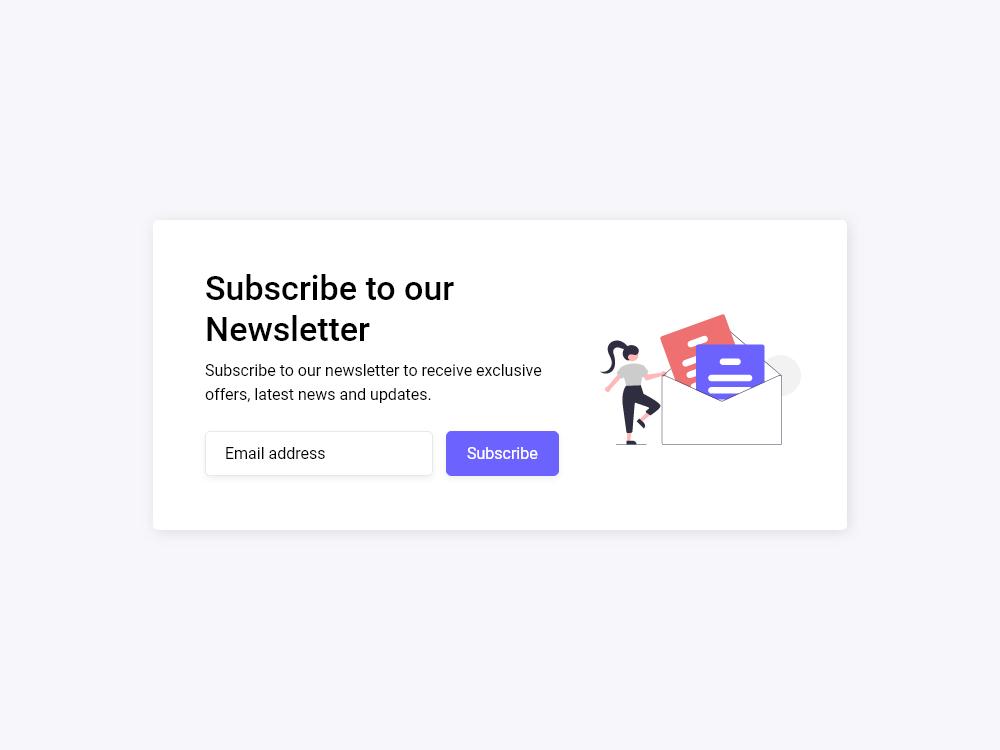 Subscribe Newsletter Form UI Design - HTML CSS SASS Bootstrap | Kiran  Workspace