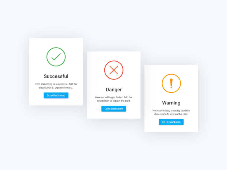 Success info card UI design adobexd and bootstrap
