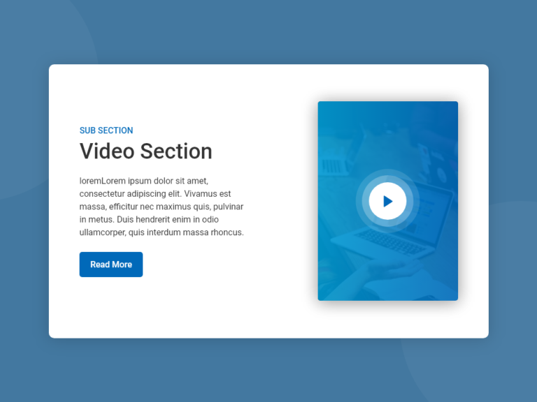 Video Section UI Design AdobeXD Bootstrap