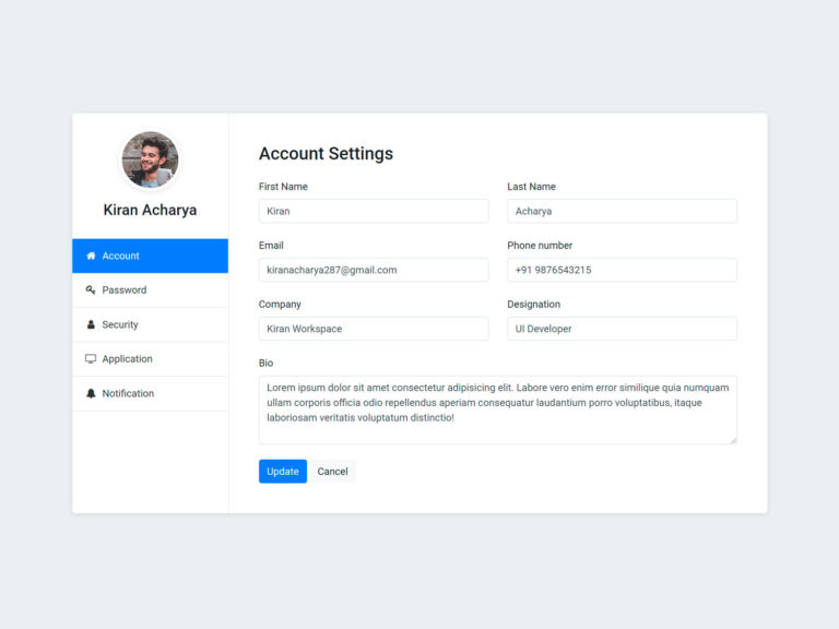 Profile account settings page UI Design html css bootstrap 4