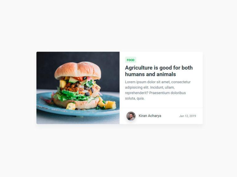 Blog Card UI Design - HTML CSS SCSS Bootstrap 4