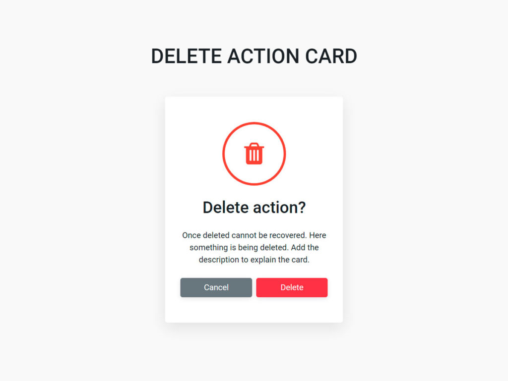 Delete action card UI component Bootstrap