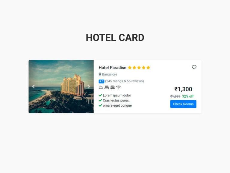 Hotel Card UI Design Bootstrap 4