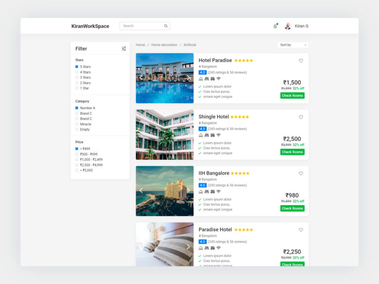 Hotel List Page UI Design AdobeXD