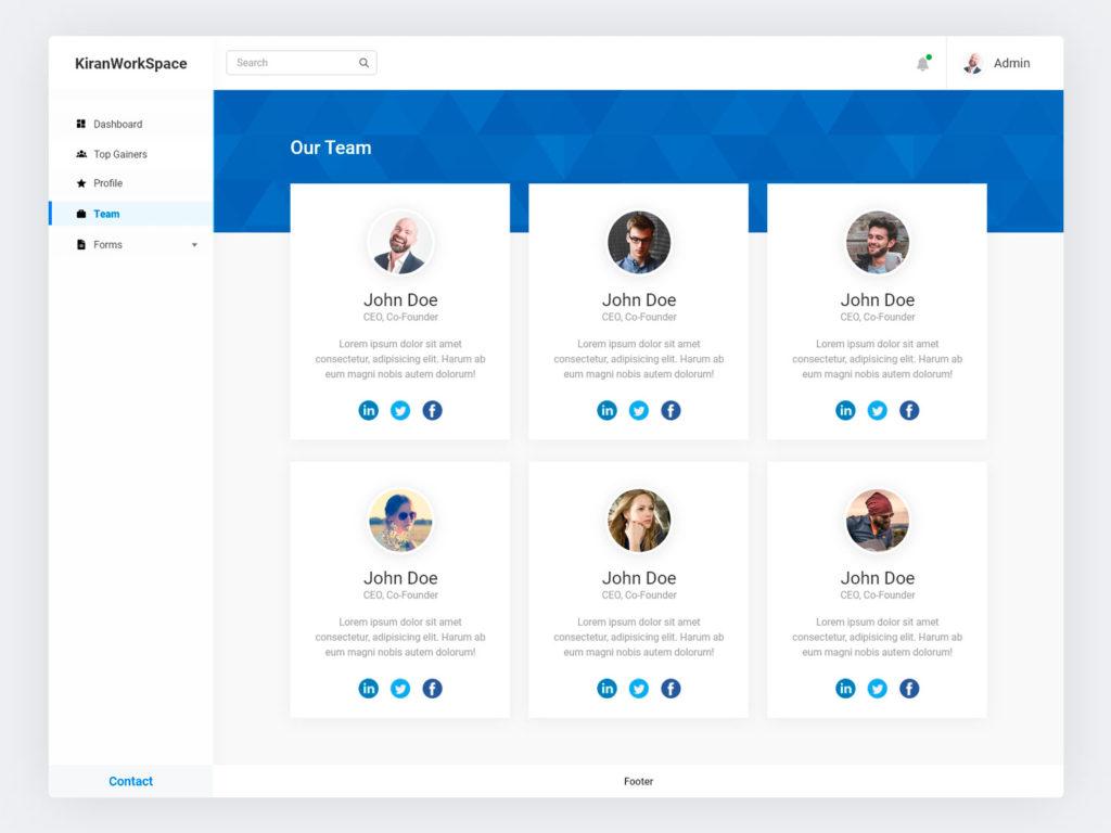 Our Team Page UI Design AdobeXD