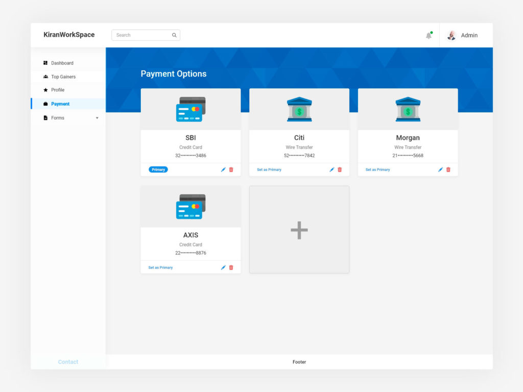Payment Opeions Page UI Design AdobeXD