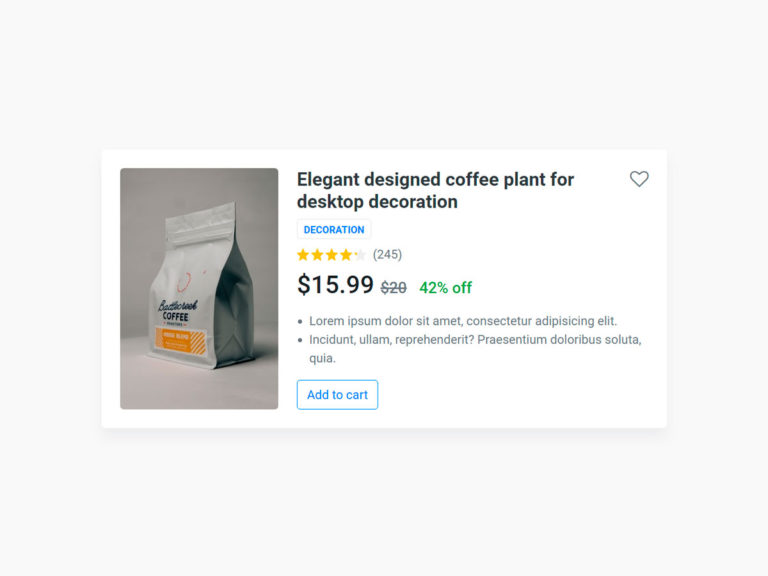 Ecommerce Product Card UI design Bootstrap 4