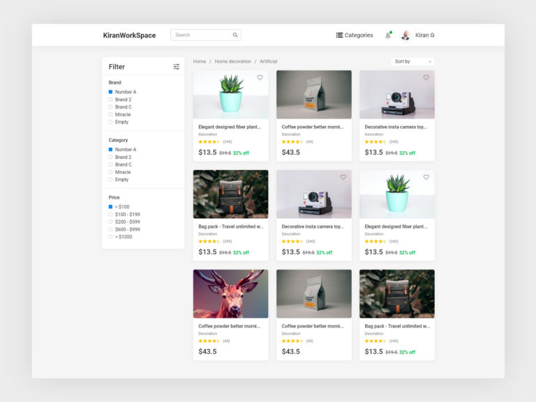 Product List Page Ecommerce UI Design
