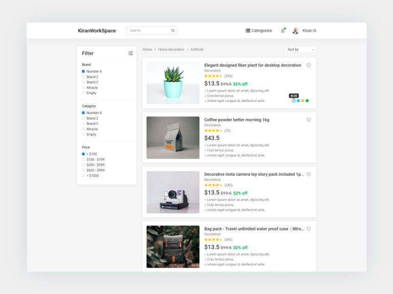 Ecommerce product listing page UI design adobexd