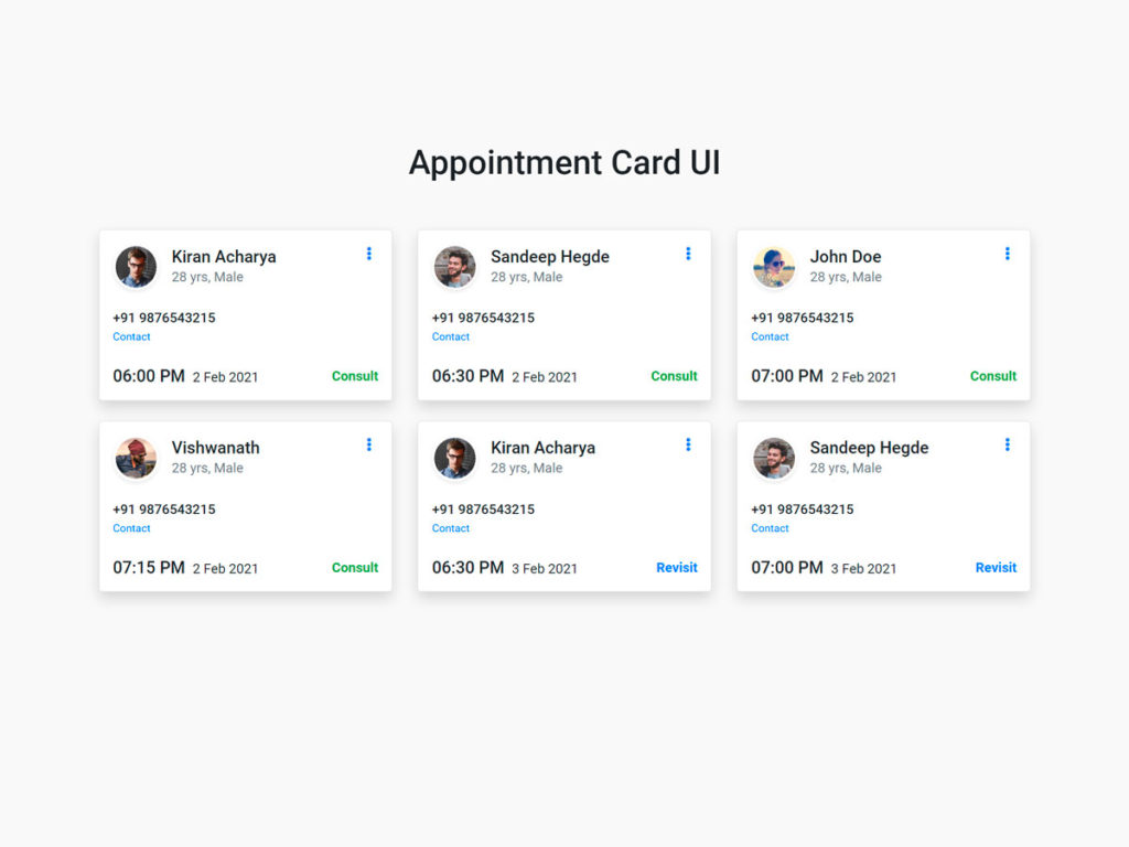 Appointment Card UI Design Bootstrap 4 HTML SASS