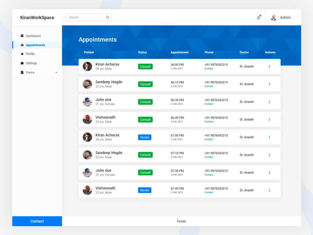 Appointment Table Page UI Design AdobeXD