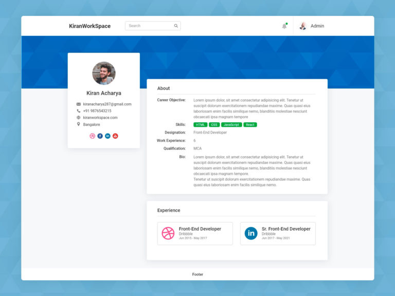 Dashboard Profile Page UI Design AdobeXD